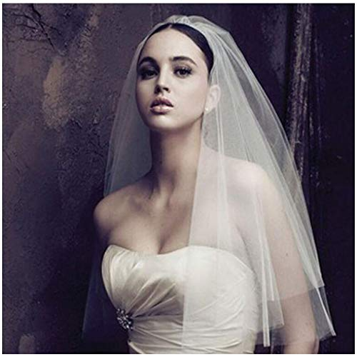 Olbye Women's Wedding Veil Two Tier Elbow Length Veil Raw Edge Veils for wedding Soft Tulle Bridal Veil (Ivory style2) ()
