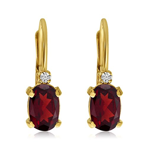 Earrings Natural 14k Stone (14k Yellow Gold Oval Garnet and Diamond Leverback Earrings)