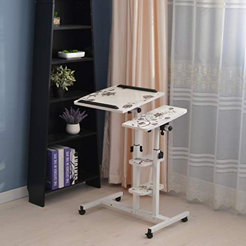 (Adjustable Computer Desk with Double Layer Shelf Mobile Office Desk/Bed Side/Study Table/Writing Table/Tray Table for Study/Home Office/Bedroom/Living Room by Anewoneson from USA )