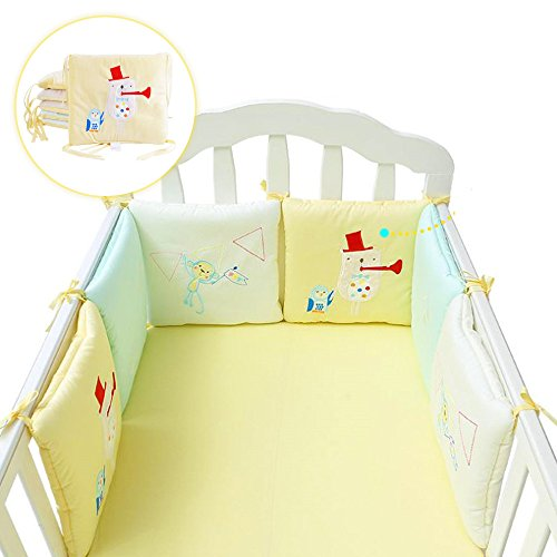 DEWEL Crib Bumper Cotton Percale Crib Bumper Padded Breathable Baby Protector Pack of 6 Shipped from U.S (Flannelette)