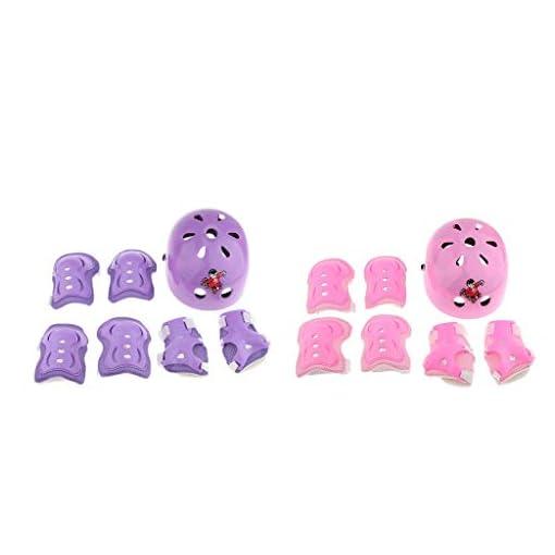 Baosity-2-Set-Kid-Child-Roller-Skating-Bicycle-Helmet-Knee-Wrist-Guard-Elbow-Pad-Pink-Purple