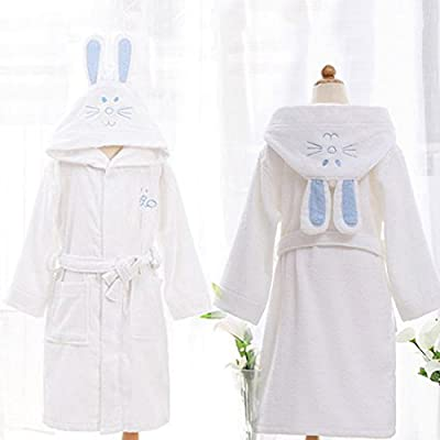 Freahap Kids Cotton Blend Bathrobe with Hood Soft Hooded Clothes for Boys Girls