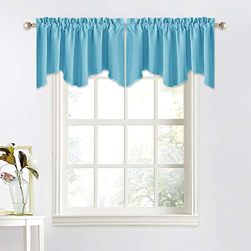 NICETOWN Short Curtain Blackout Valance - 52 inches by 18 inches Scalloped Kitchen/Bathroom/Living Room/Hotel/Kids Room Valance Tier Window Curtain (Teal Blue=Light Blue, Single Piece) (Valances Turquoise Windows For)