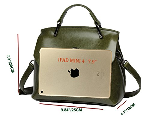 Handbags Bag Tote Leather CLELO Women's Army Shoulder Purses Flap Green Vintage Crossbody Satchel XEqwAxw0
