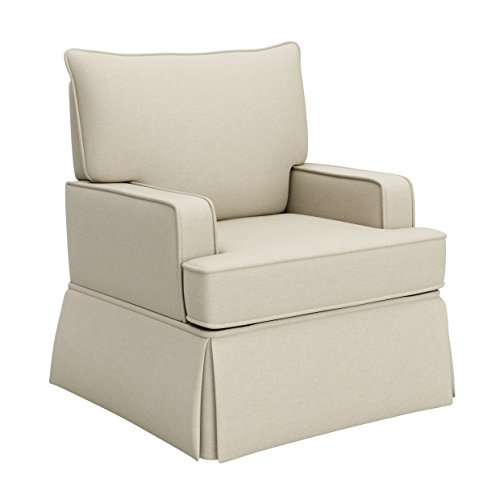 Storkcraft Davenport Upholstered Swivel Glider, Sahara Cleanable Upholstered Comfort Rocking Nursery Swivel - Ottoman Nursery Upholstered