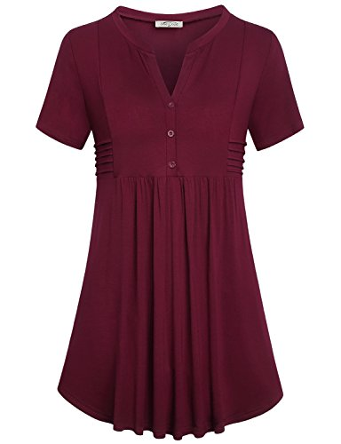 Empire Waist Maternity Shirt (SeSe Code Babydoll Shirt, Women Juniors Maternity Burgundy Cotton Tunic Retro Modesty Panel Empire Waist Line Flowy Hem V Neck Loose Fit Blouse Wine Red XL)
