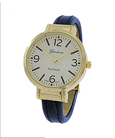 Rosemarie Collections Women's Round Face Vegan Leather Cuff Bracelet Watch (Navy Blue) (Vegan Leather Watch Man)