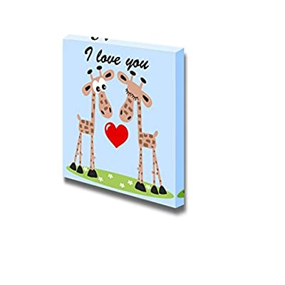 Canvas Prints Wall Art - I Love You. Romantic Cartoon of 2 Giraffes with a Heart | Modern Wall Decor/Home Art Stretched Gallery Canvas Wraps Giclee Print & Ready to Hang - 16
