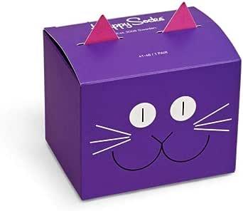 Happy Socks - Calcetines de algodón multicolor prémium en caja de regalo para hombres y mujeres, caja de regalo con diseño de gato (talla: 41 – 46)