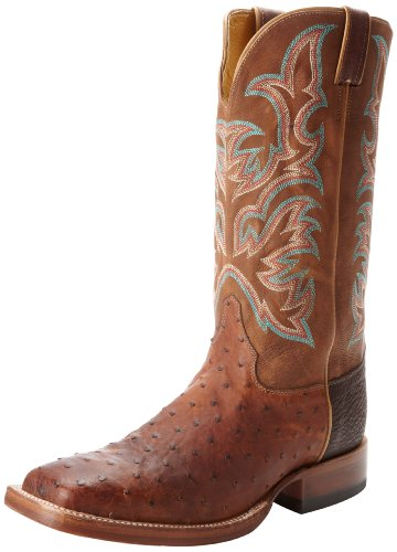 - Justin Boots Men's AQHA Remuda, Antique Saddle Full Quill Ostrich, 8 EE US
