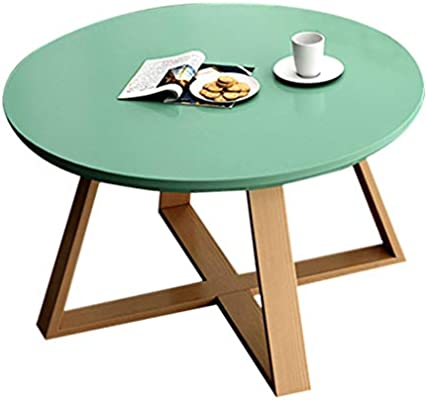 Amazon Com Coffee Table Sleek Minimalist Round Coffee Table Living Room Sofa Side Table Simple Leisure Table Personalized Balcony Tea Table Strong And Firm Color Green Size 80x45cm Furniture Decor
