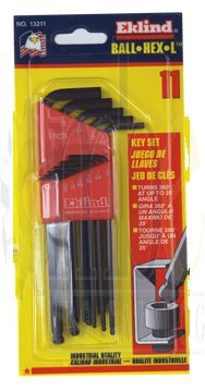 11 Piece - .050 - 1/4'' Long Arm Style - Ball End Hex Key Set by Eklind Tool (Image #1)
