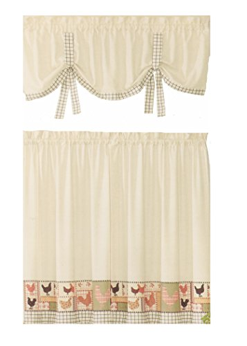 Ellery Homestyles Kitchen Curtains Tier & Valance Set Countr