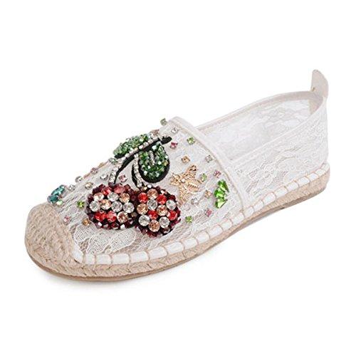 Espadrilles Blanc Avec Broderie Florale - Blanc Plage Sud v4Q2Mlcu