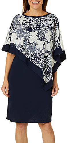 R & M Richards Womens Floral Puff Print Overlay Shift Dress 10 Navy Blue/White