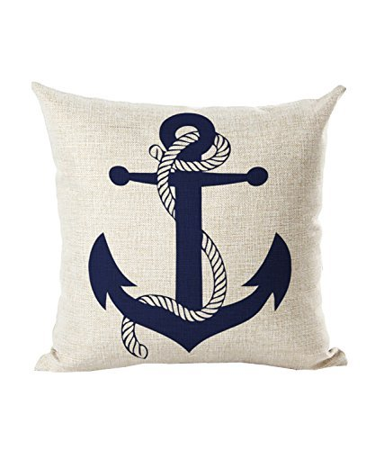 (NAVIBULE Selcet Blue Boat Anchor Pattern Cotton Linen Decorative Throw Pillow Case Cushion Cover for Couch Home Car Square 18 x)