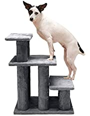Furhaven Pet Stairs - Steady Paws Easy Multi-Step Pet Stairs Assist Ramp for Dogs and Cats, Gray, 3-Step