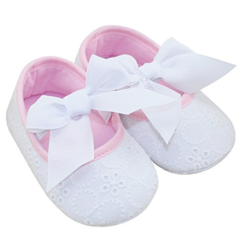 Aivtalk Infant Baby Girls Princess Bowknot Ribbon Soft Sole Mary Jane Moccasins Prewalker Crib Shoes - White 13cm