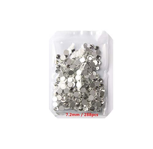 (Glitter Crystal Flat Back Nail Art Rhinestone 3D Glass Nail Art Decorations Garment Mix Rhinestone,Clear Ss34)