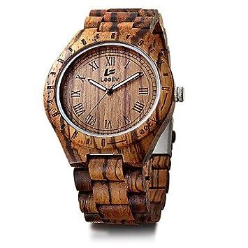 Relojes para hombres, Hombre Niños Reloj Madera Reloj Pulsera Reloj Deportivo Japonés Cuarzo Calendario Cronógrafo