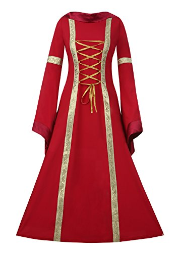 Red Renaissance Dress (Aloe.W Women Medieval Dress Renaissance Lace Up Vintage Style Gothic Dress Floor Length Women Cosplay Dresses Retro Gown)