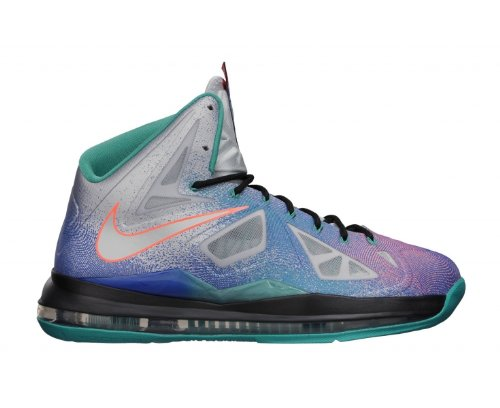 Nike Mens Lebron X Pure Platinum Synthetic Basketball Shoes
