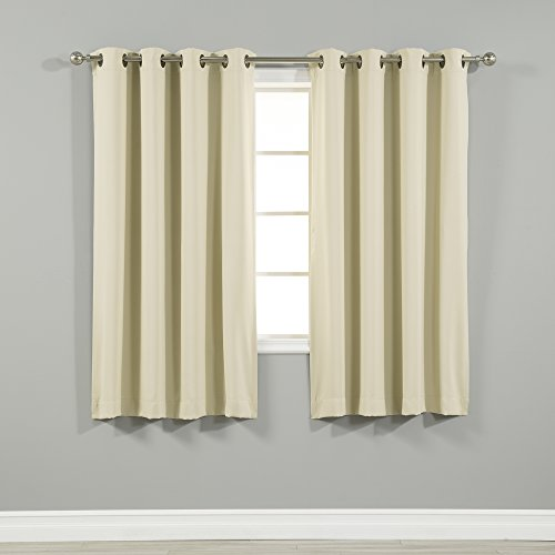 "Best Home Fashion Thermal Insulated Blackout Curtains - Antique Bronze Grommet Top - Beige - 52""W x 63""L - (Set of 2 Panels)"