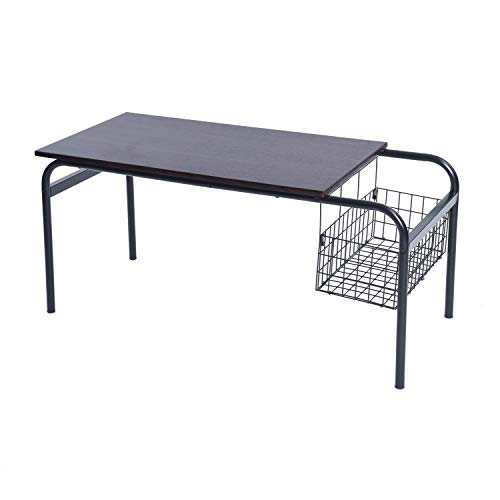 "Living Room Coffee Table Side Storage Dark Wood Metal Vintage Industrial Design (L31.5""xW17.7""xH18.7"")"