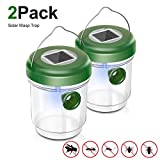 Non-Toxic Wasp Trap Catcher, Reusable Solar Powered Fly Trap with Ultraviolet Light for Trapping Bees, Wasps, Hornets, Yellow Jackets, Bugs in Home Garden Outdoor, 2 Pack (Green)