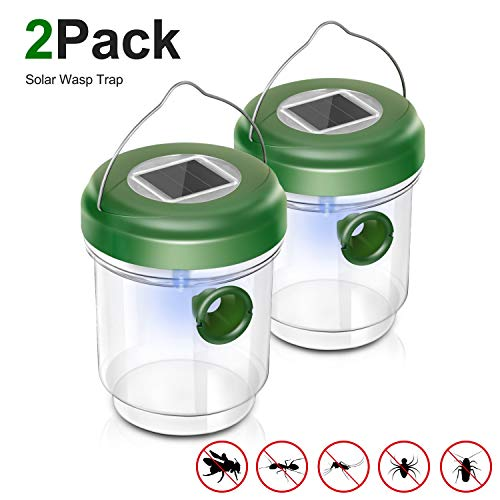 Non-Toxic Wasp Trap Catcher, Reusable Solar Powered Fly Trap with Ultraviolet Light for Trapping Bees, Wasps, Hornets, Yellow Jackets, Bugs in Home Garden Outdoor, 2 Pack