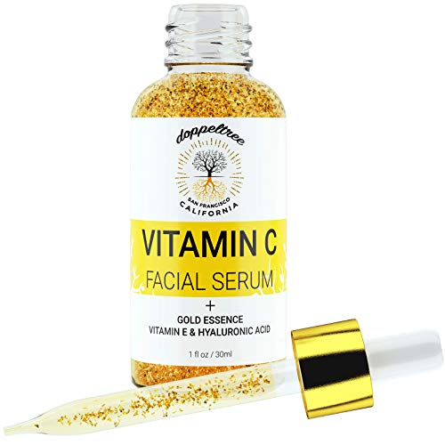 Gold Serum - Vitamin C Serum for Face with Real Gold Essence - Anti Aging Treatment for Glowing Skin, Wrinkle & Dark Spot Remover - Made with Hyaluronic Acid, Vitamin E, 24K Gold - Formulated in San Francisco