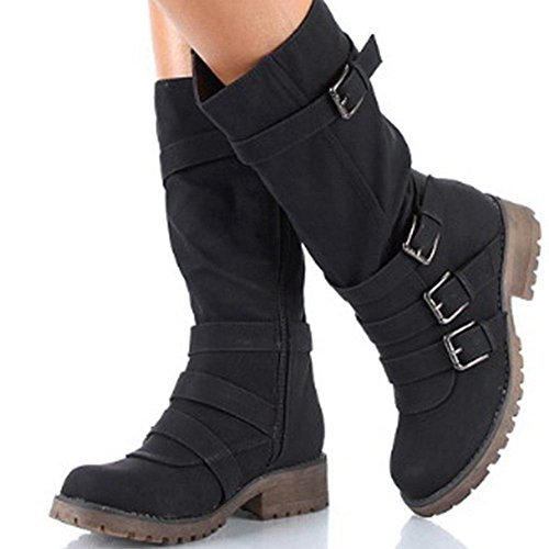 Women's Strap KingRover Round Zipper Mid Black Boots Buckle Heel Toe Calf Square Classic pqxq8dB