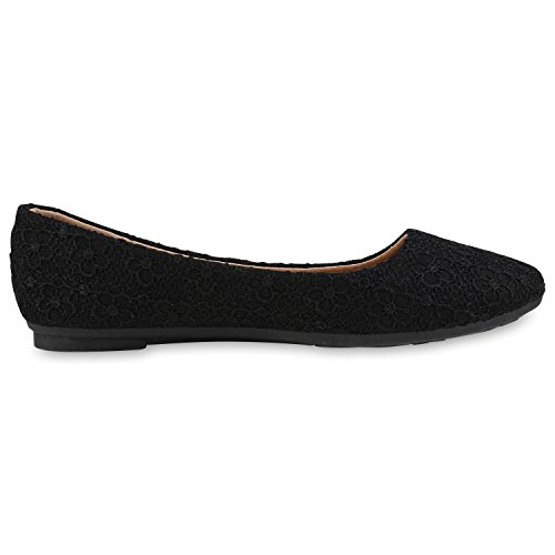 Japado Klassische Damen Ballerinas Flats Spitze Häkeloptik Leder-Optik Slippers Ballerina Schuhe Metallic Schleifen Pailletten All Black