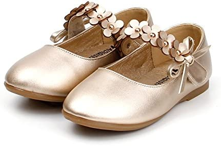 Femizee Toddler Girls Flower Mary Jane Ballet Flats Shoes with Hook and Loop Strap Toddler//Little Kid