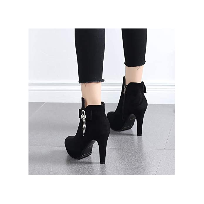 Hbdlh Scarpe Da Donna super High Heel Breve Stivali Alto 11cm Moda Duro Resistente All'acqua Di Piattaforma Acqua Trapano Ma Dingxue