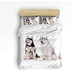 YEHO Art Gallery King Size Cute 3 Piece Duvet Cover Sets Soft Bed Sets for Kids Boys Girls,Lovely Alaska Dog Animal Pattern,Bedding Set Include 1 Comforter Cover with 2 Pillow Cases