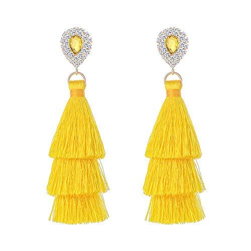 (Long Tassel Earrings For Women Bohemian Drop Earrings Rhinestone Teardrop Dangle Earrings 3 Layered Multi Color Fringe Earrings Girls)