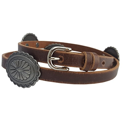 Western Skinny Leather belt with Conchos in Brown S/M (Concho Belt)