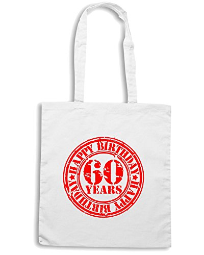 T-Shirtshock - Bolsa para la compra TR0057 Happy 60th Birthday 60 Years Old Red Stamp Artwork Blanco