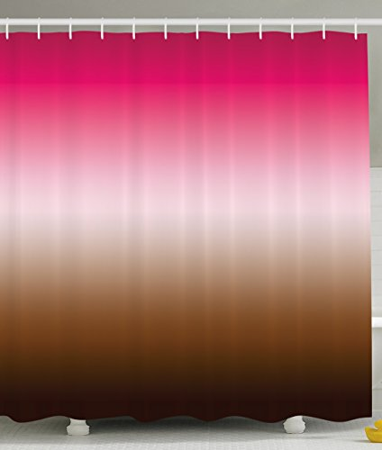 Home Decor Shower Curtainations Art Bathroom Decor Shower Curtain by Ambesonne, 70 Inches Long, Polyester Fabric Shower Curtain Set with Hooks, Ombre Colorful Design Fuchsia Pink Brown