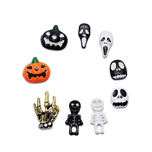 Kamas 9Pcs/Lot Charms Glitter Nails Art Rhinestones Alloy Nail Art Halloween Ghost Head Pumpkin Ghost Nail Ornament Horror Scream Stud