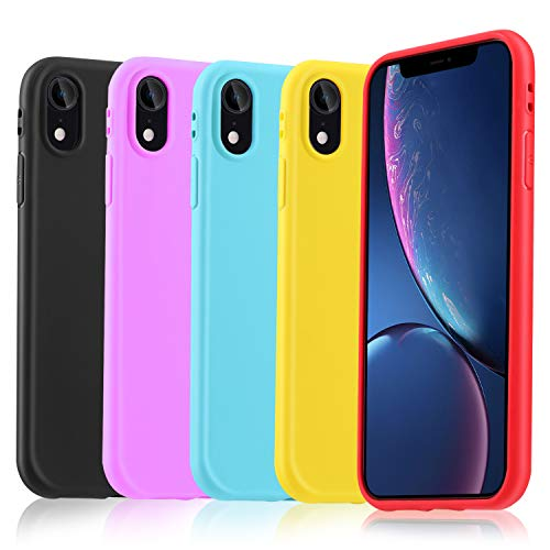 Pofesun Phone Case Compatible with iPhone XR Cases Silicone, 5 Pack Ultra Thin Cute Flexible Soft TPU Protective Cover Compatible for iPhone XR 6.1 inch 2018 Release-Black,Red,Rose,Yellow,Turquoise