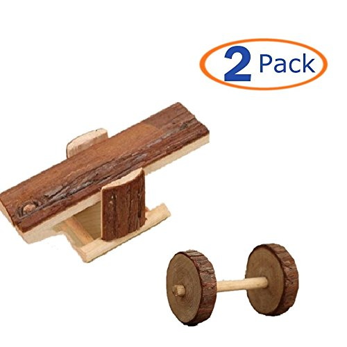 Wood Hamster Toy,Natural Wood Seesaw Wheel Dumbbell,Little Train No Metal Design Chew Toy