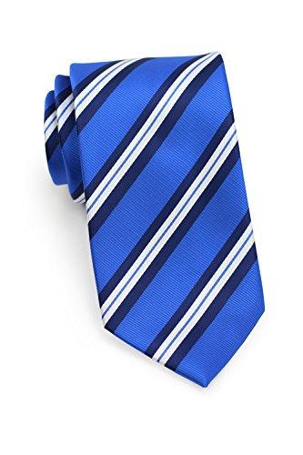 Bows-N-Ties Men's Necktie Preppy Repp Striped Microfiber Satin Tie 3.1 Inches (Horizon Blue and Navy) ()