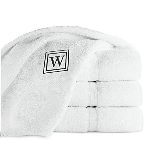 luxor-linens-4-piece-100-egyptian-cotton-bath-towel-set-oversized-black-monogrammed-letter-w-white