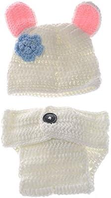 a806186cc BESTOYARD Lindo Conejo Blanco Estilo bebé Infantil recién Nacido Tejido a  Mano Crochet Sombrero Traje bebé Accesorios de fotografía Conjunto