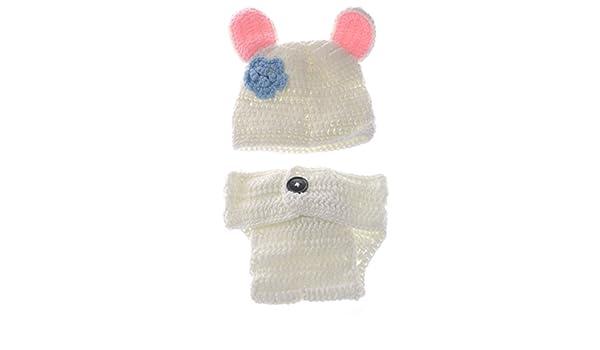 5b03ebf98 BESTOYARD Lindo Conejo Blanco Estilo bebé Infantil recién Nacido Tejido a Mano  Crochet Sombrero Traje bebé Accesorios de fotografía Conjunto  Amazon.es   ...