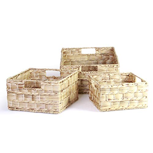 HandyMake Water Hyacinth Storage Baskets with Handles - Multi Purpose Natural Eco Friendly Wicker Baskets for Everyday Use - Nested Pack of 3 Including Large, Medium and Small Size (Square)