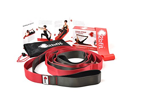 32bfit Yoga Strap for Stretching with 12 Loops and Neoprene Padded Handle and Bonus 1 Red Loop Band Medium Resistance - Carry Bag & Workout Instruction Included