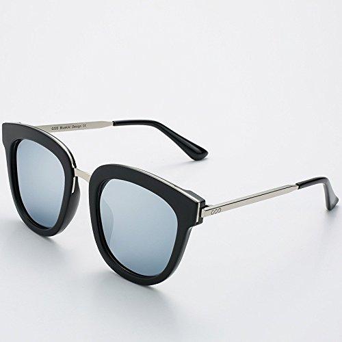 gafas redondas gafas UV400 de Mujer de Sunglasses verano metálica TL cuadrada polarizadas Silver Silver guía Hombre sol BOw7RRxq1